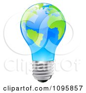 3d Blue Light Bulb With Green Continents