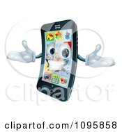 Clipart 3d Happy Cell Phone Character Holding His Arms Out Royalty Free Vector Illustration