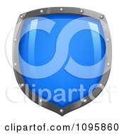 Clipart Shiny Blue Shield With Silver Edges Royalty Free Vector Illustration