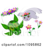 Clipart Sea Turtle And Seal With Flowers Royalty Free Vector Illustration by bpearth