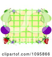 Clipart Fruit Frame On Green Lattice Over Beige Royalty Free Vector Illustration by bpearth