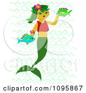 Happy Mermaid Swimming With Her Fish Friends In Waves