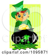 Clipart Happy Leprechaun With A Pot Of Gold In A Clover Patch Over Stripes Royalty Free Vector Illustration by bpearth