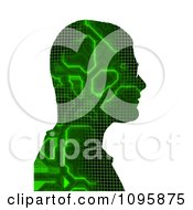 Mans Profile With Digital Green Circuitry