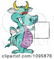 Turquoise Dragon Smiling And Holding A Sign