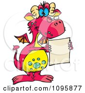 Pink Dragon Wearing Glasses And Holding A Document
