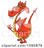Clipart Orange Dragon Smiling And Waving Royalty Free Vector Illustration by Dennis Holmes Designs