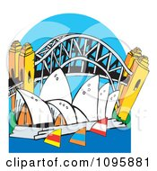 Clipart The Australian Sydney Harbor Bridge And Opera House With Sailboats Over Blue Royalty Free Vector Illustration by Dennis Holmes Designs