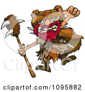 Clipart Celtic Man Jumping And Holding A Club Royalty Free Vector Illustration by Dennis Holmes Designs