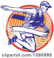 Clipart Retro Marathon Runner Breaking Through The Finish Line Over Rays Royalty Free Vector Illustration