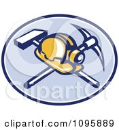 Clipart Retro Coal Miner Hard Hat And Head Lamp With A Crossed Pickaxe And Sledge Hamme In A Blue Oval Royalty Free Vector Illustration