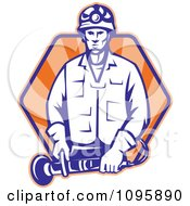 Clipart Retro Worker Holding Angle Grinder Tool Over Rays Royalty Free Vector Illustration