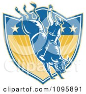 Poster, Art Print Of Retro Rodeo Cowboy On A Bucking Bull Over A Star And Ray Shield