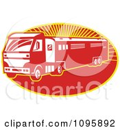 Clipart Retro Red Horse Transport Lorry Truck With A Trailer Over Rays Royalty Free Vector Illustration by patrimonio