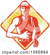 Clipart Retro Marathon Runner Over A Diamond Of Rays Royalty Free Vector Illustration by patrimonio