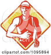 Retro Marathon Runner Over A Diamond Of Rays