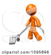 Clipart 3d Orange Man Cleaning With A Canister Vacuum 2 Royalty Free Vector Illustration