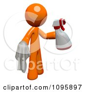 3d Orange Man Custodian Cleaning With A Spray Bottle And Cloth