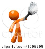 Poster, Art Print Of 3d Orange Man House Keeper Cleaning With A Feather Duster
