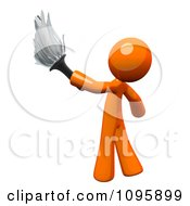 Poster, Art Print Of 3d Orange Man Janitor Cleaning With A Feather Duster