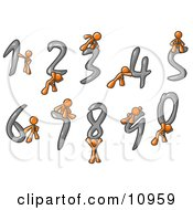 Orange Men With Numbers 0 Through 9 Clipart Illustration