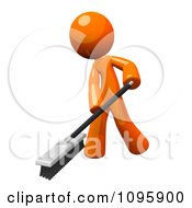 Clipart 3d Orange Man Janitor Cleaning With A Push Broom Royalty Free Vector Illustration