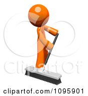 Poster, Art Print Of 3d Orange Man Custodian Sweeping With A Push Broom