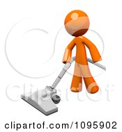 Clipart 3d Orange Man Cleaning With A Canister Vacuum 1 Royalty Free Vector Illustration