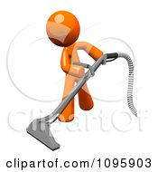 Clipart 3d Orange Man Using A Carpet Cleaner Wand 2 Royalty Free CGI Illustration by Leo Blanchette