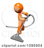 Clipart 3d Orange Man Using A Carpet Cleaner Wand 1 Royalty Free CGI Illustration