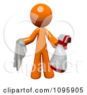 Clipart 3d Orange Man Janitor Cleaning With A Spray Bottle And Cloth Royalty Free Vector Illustration