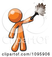 Clipart Orange Man Cleaning With A Feather Duster Royalty Free Vector Illustration