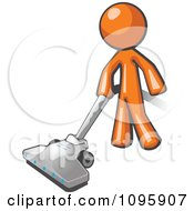 Clipart Orange Man Cleaning With A Canister Vacuum Royalty Free Vector Illustration