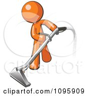 Clipart Orange Man Using A Carpet Cleaner Wand Royalty Free Vector Illustration