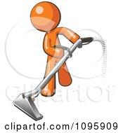 Orange Man Using A Carpet Cleaner Wand
