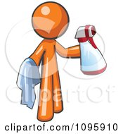 Clipart Orange Man Cleaning With A Spray Bottle And Cloth Royalty Free Vector Illustration