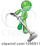 Clipart Green Man Using A Carpet Cleaner Wand Royalty Free Vector Illustration