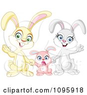 Clipart Happy Family Of Bunny Rabbits Waving Royalty Free Vector Illustration by yayayoyo