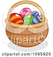 Clipart Basket Filled With Colorful Easter Eggs Royalty Free Vector Illustration by yayayoyo