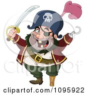 Clipart Happy Pirate With A Sword Peg Leg And Hook Hand Royalty Free Vector Illustration