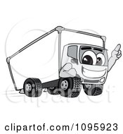 Delivery Big Rig Truck Mascot Character Pointing Upwards