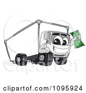 Clipart Delivery Big Rig Truck Mascot Character Holding Cash Royalty Free Vector Illustration