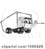 Delivery Big Rig Truck Mascot Character Holding A Pointer Stick