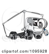 Delivery Big Rig Truck Mascot Character Using A Magnifying Glass