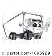 Clipart Delivery Big Rig Truck Mascot Character Holding A Wrench Royalty Free Vector Illustration
