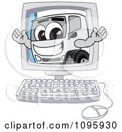 Clipart Delivery Big Rig Truck Mascot Character On A Computer Screen Royalty Free Vector Illustration by Toons4Biz