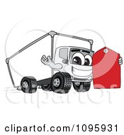 Clipart Delivery Big Rig Truck Mascot Character Holding A Price Tag Royalty Free Vector Illustration