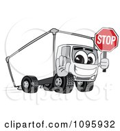 Clipart Delivery Big Rig Truck Mascot Character Holding A Stop Sign Royalty Free Vector Illustration