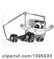 Clipart Friendly Delivery Big Rig Truck Mascot Character Royalty Free Vector Illustration