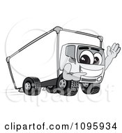 Delivery Big Rig Truck Mascot Character Waving And Pointing